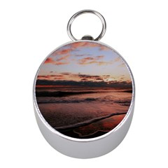 Stunning Sunset On The Beach 3 Mini Silver Compasses