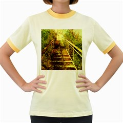 Up Stairs Women s Fitted Ringer T Shirts