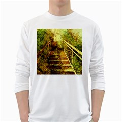Up Stairs White Long Sleeve T-Shirts