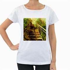 Up Stairs Women s Loose Fit T Shirt (white)