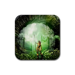The Gate In The Magical World Rubber Square Coaster (4 Pack)