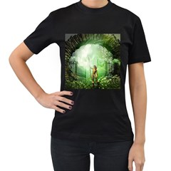 The Gate In The Magical World Women s T Shirt (black) (two Sided)