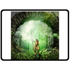 The Gate In The Magical World Fleece Blanket (large)