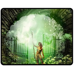 The Gate In The Magical World Fleece Blanket (Medium)