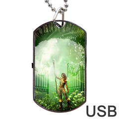 The Gate In The Magical World Dog Tag Usb Flash (one Side)