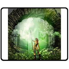 The Gate In The Magical World Double Sided Fleece Blanket (Medium)