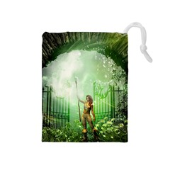 The Gate In The Magical World Drawstring Pouches (medium)