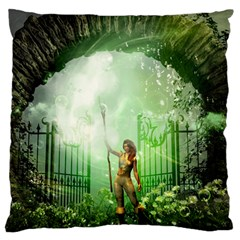 The Gate In The Magical World Large Flano Cushion Cases (Two Sides)