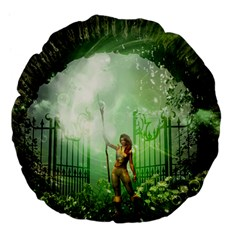 The Gate In The Magical World Large 18  Premium Flano Round Cushions