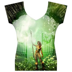 The Gate In The Magical World Women s V-Neck Cap Sleeve Top