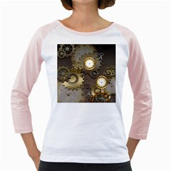 Steampunk, Golden Design With Clocks And Gears Girly Raglans