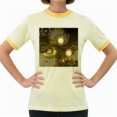 Steampunk, Golden Design With Clocks And Gears Women s Fitted Ringer T Shirts