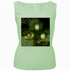 Steampunk, Golden Design With Clocks And Gears Women s Green Tank Tops