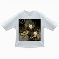 Steampunk, Golden Design With Clocks And Gears Infant/Toddler T-Shirts