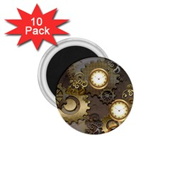 Steampunk, Golden Design With Clocks And Gears 1 75  Magnets (10 Pack)