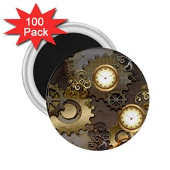Steampunk, Golden Design With Clocks And Gears 2 25  Magnets (100 Pack)