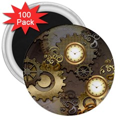 Steampunk, Golden Design With Clocks And Gears 3  Magnets (100 Pack)