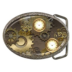 Steampunk, Golden Design With Clocks And Gears Belt Buckles