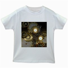 Steampunk, Golden Design With Clocks And Gears Kids White T-Shirts