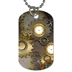 Steampunk, Golden Design With Clocks And Gears Dog Tag (one Side)