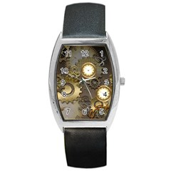 Steampunk, Golden Design With Clocks And Gears Barrel Metal Watches