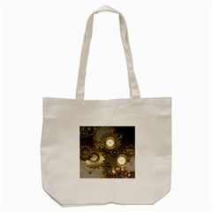 Steampunk, Golden Design With Clocks And Gears Tote Bag (Cream)
