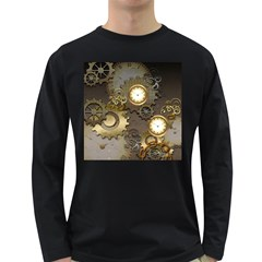 Steampunk, Golden Design With Clocks And Gears Long Sleeve Dark T Shirts