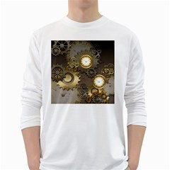 Steampunk, Golden Design With Clocks And Gears White Long Sleeve T-Shirts