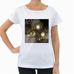 Steampunk, Golden Design With Clocks And Gears Women s Loose Fit T Shirt (white)