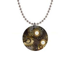 Steampunk, Golden Design With Clocks And Gears Button Necklaces