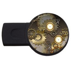 Steampunk, Golden Design With Clocks And Gears Usb Flash Drive Round (4 Gb)