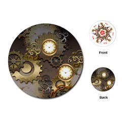Steampunk, Golden Design With Clocks And Gears Playing Cards (round)