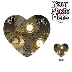 Steampunk, Golden Design With Clocks And Gears Playing Cards 54 (heart)