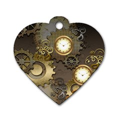 Steampunk, Golden Design With Clocks And Gears Dog Tag Heart (two Sides)