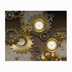 Steampunk, Golden Design With Clocks And Gears Small Glasses Cloth (2 Side)