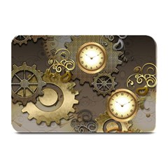 Steampunk, Golden Design With Clocks And Gears Plate Mats