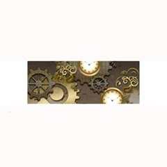 Steampunk, Golden Design With Clocks And Gears Large Bar Mats