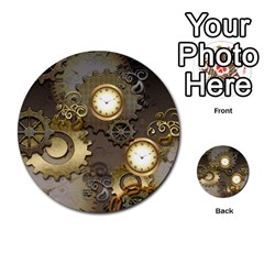 Steampunk, Golden Design With Clocks And Gears Multi-purpose Cards (Round)