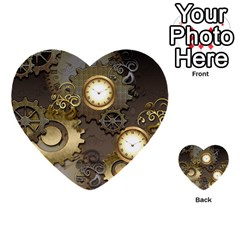 Steampunk, Golden Design With Clocks And Gears Multi-purpose Cards (Heart)