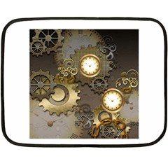 Steampunk, Golden Design With Clocks And Gears Fleece Blanket (Mini)