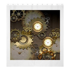 Steampunk, Golden Design With Clocks And Gears Shower Curtain 66  x 72  (Large)
