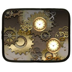 Steampunk, Golden Design With Clocks And Gears Netbook Case (xxl)