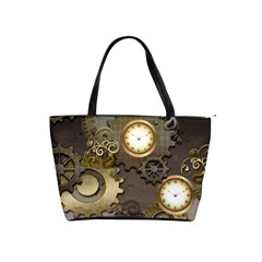 Steampunk, Golden Design With Clocks And Gears Shoulder Handbags