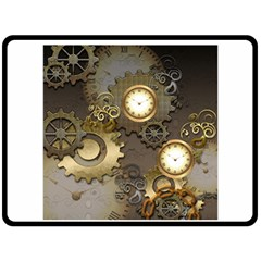 Steampunk, Golden Design With Clocks And Gears Fleece Blanket (large)