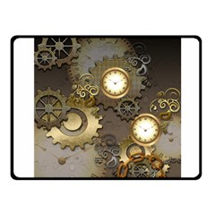 Steampunk, Golden Design With Clocks And Gears Fleece Blanket (Small)