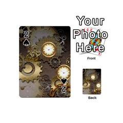 Steampunk, Golden Design With Clocks And Gears Playing Cards 54 (Mini)