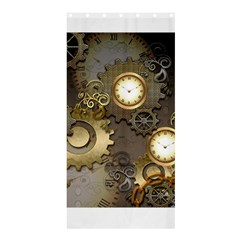 Steampunk, Golden Design With Clocks And Gears Shower Curtain 36  x 72  (Stall)