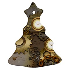 Steampunk, Golden Design With Clocks And Gears Ornament (Christmas Tree)