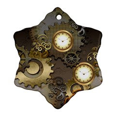 Steampunk, Golden Design With Clocks And Gears Snowflake Ornament (2 Side)