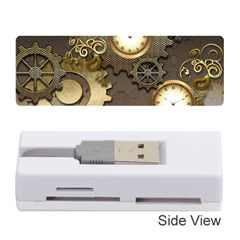 Steampunk, Golden Design With Clocks And Gears Memory Card Reader (stick)